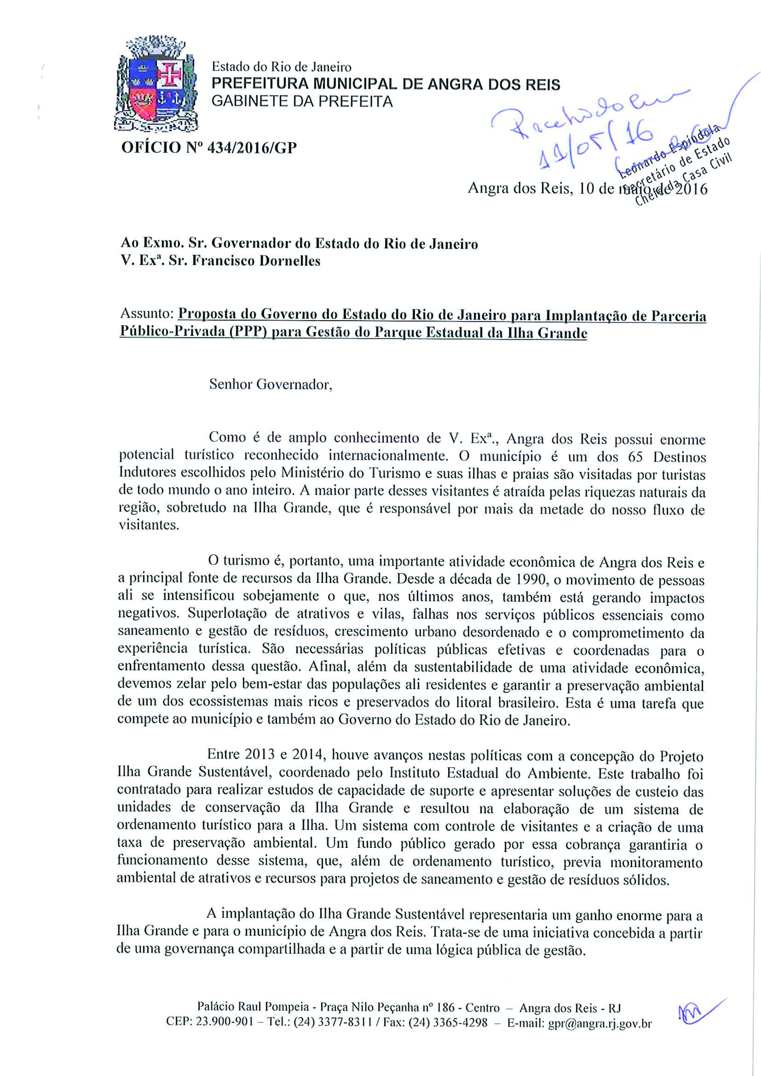 Carta da Prefeitura de Angra dos Reis ao Governador - Parte 1